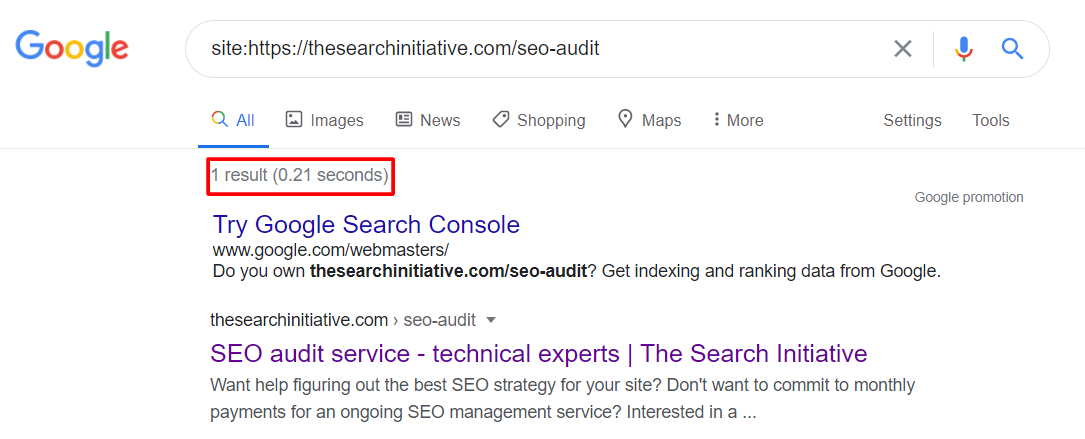 tsi seo audit serp pages result