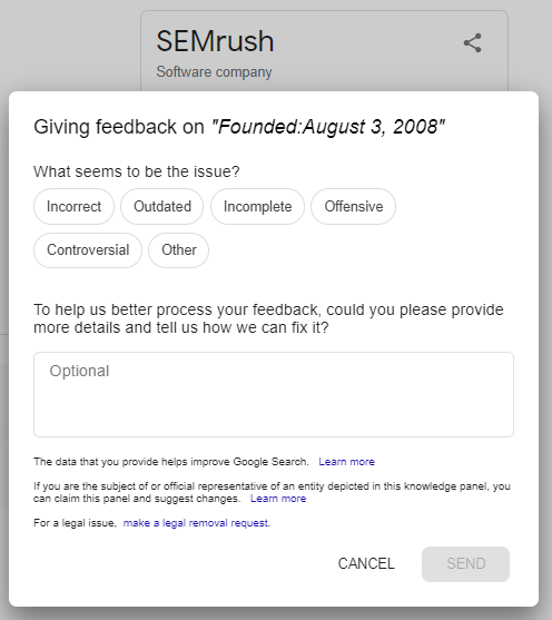 when was semrush founded google graph sample feedback