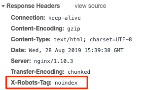 x robot tag set as noindex