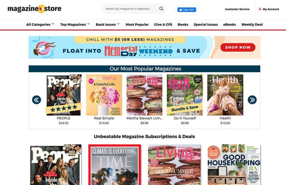 Magazine store homepage