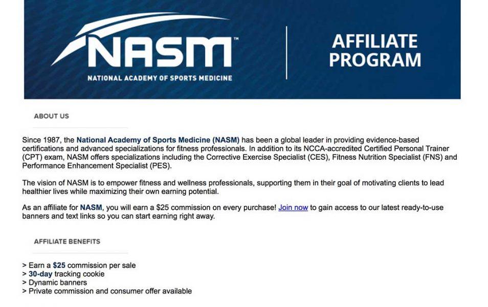 NASM affiliate program