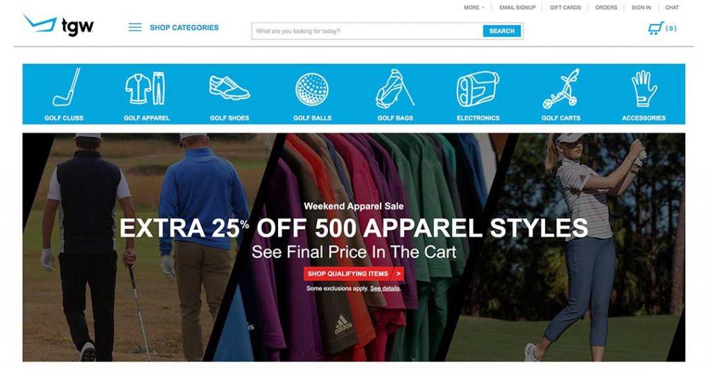 The golf warehouse homepage