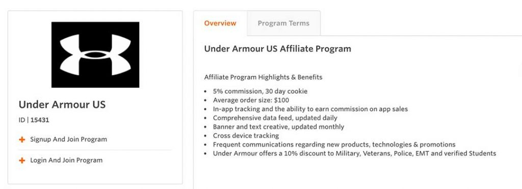 UA affiliate program