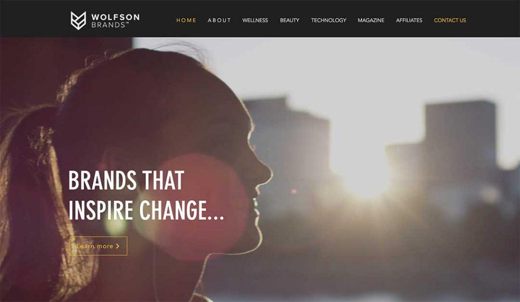 Wolfson Brand Homepage view