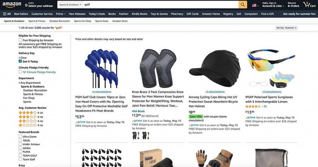 amazon golf homepage