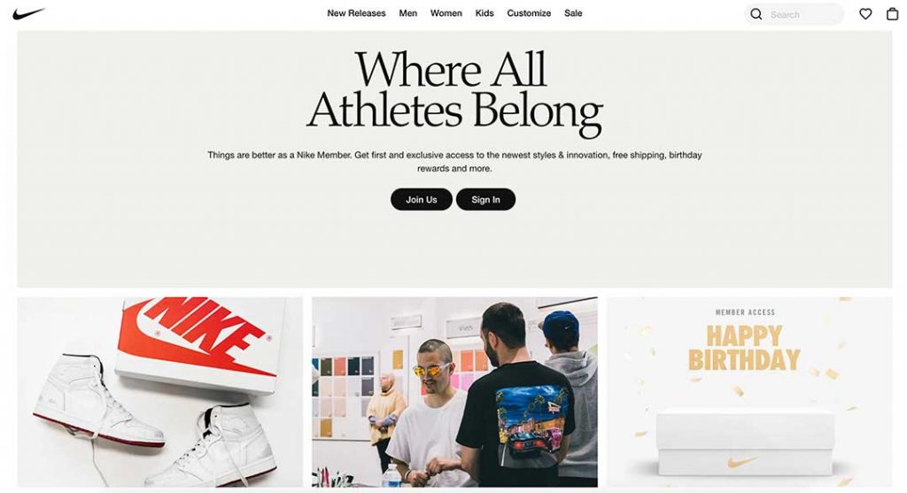 nike shoes homepage