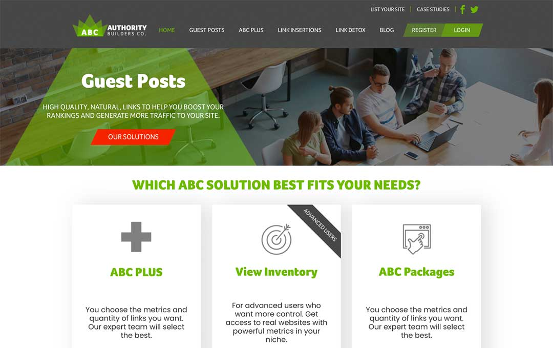 ABC guest post service homepage
