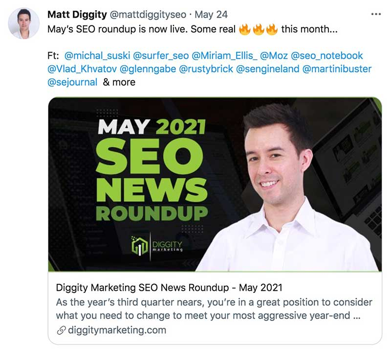 SEO News may round up twitter post