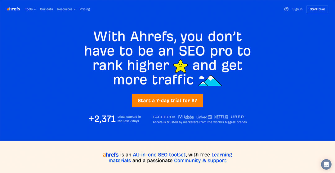 ahrefs homepage preview