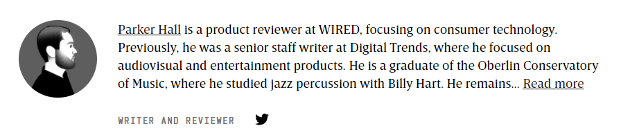 author bio sample from wired