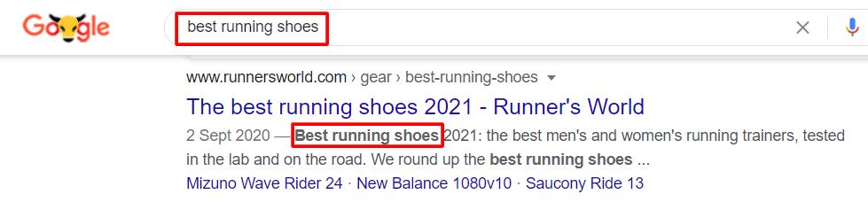 best running shoes keyword on meta descriptions