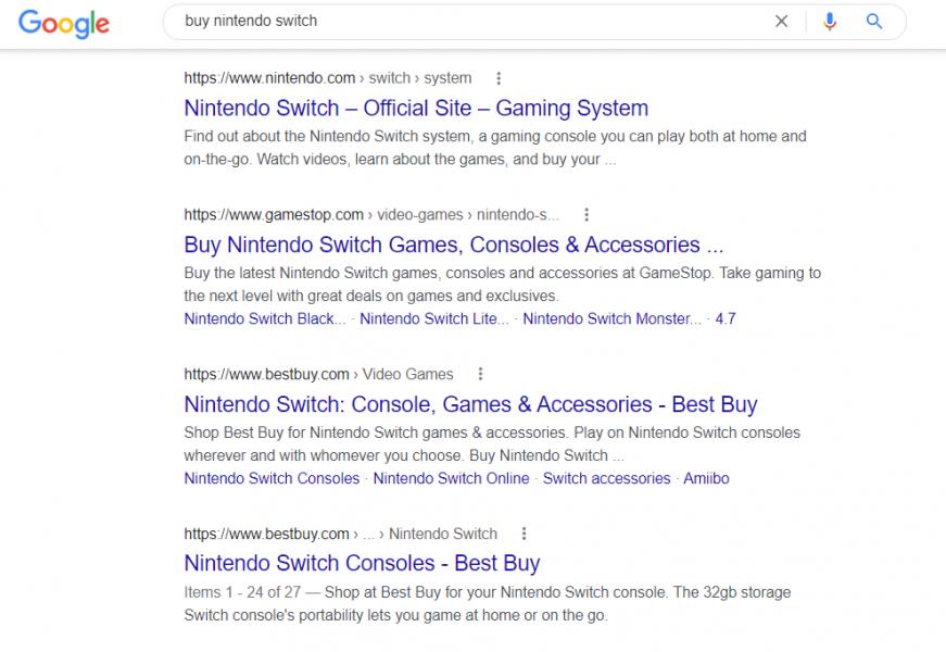 buy nintendo switch serp