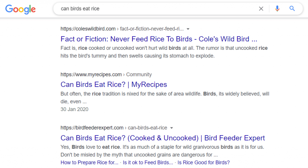 can birds eat rice google search result on page 1
