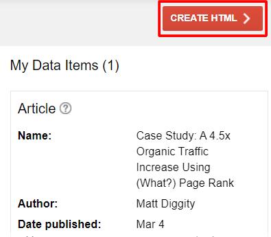 create html setting for data item
