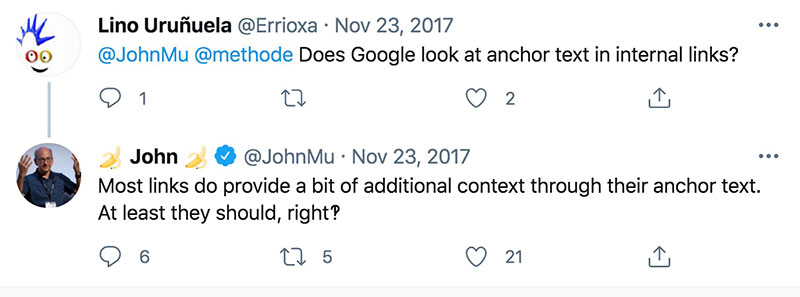 does google look into internal link anchor text