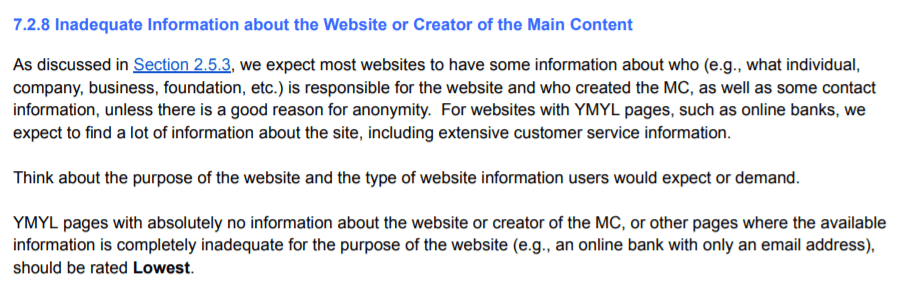 google guideline on creator inadequate information on the website (1)