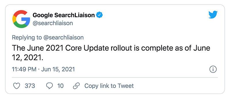 google search liaison tweet regarding june 2021 core update tweak