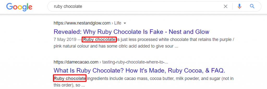 ruby chocolate keyword on meta descriptions