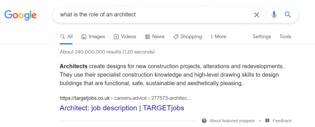 what is the role of an architect google search result