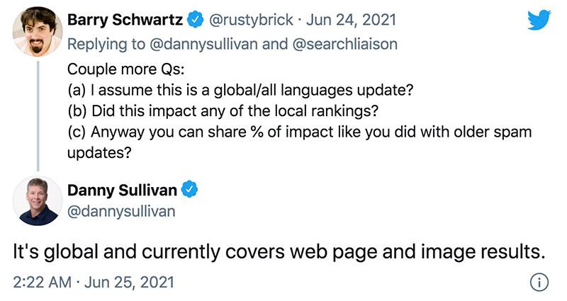 Barry Schwartz tweet on global all language update
