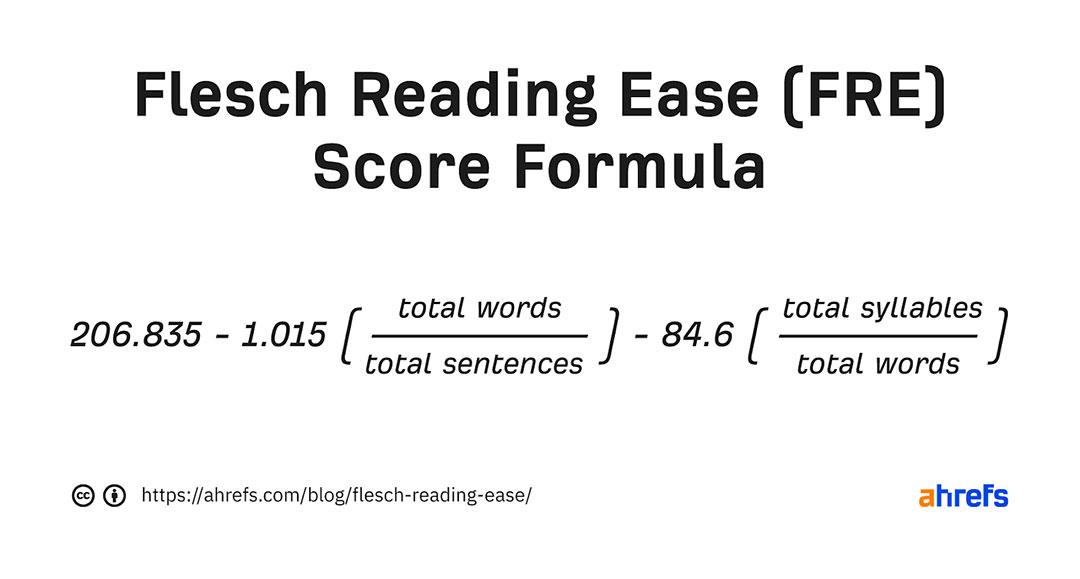 Flesch Reading Ease Score Formula