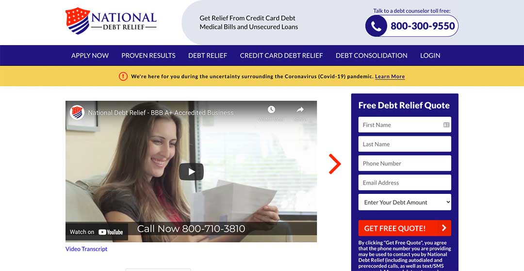 National Debt Relief Homepage