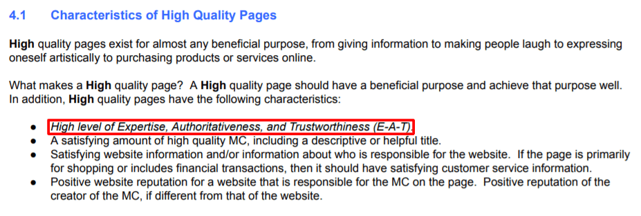 characteristics of high quality page