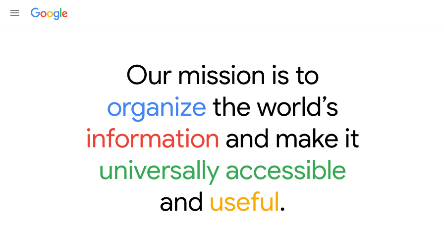 google mission search intent