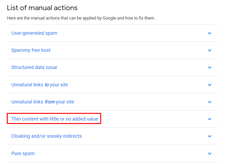 google penalty list of manual action