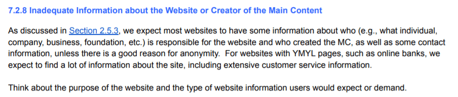 inadequate information about the website google guide