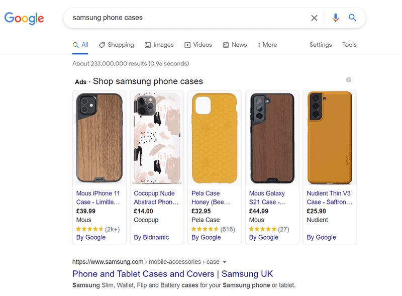 samsung phone cases on google search
