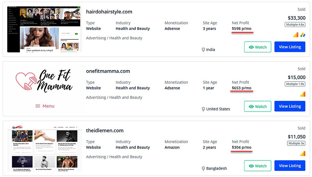Flippa list of profitable sites in the beauty niche