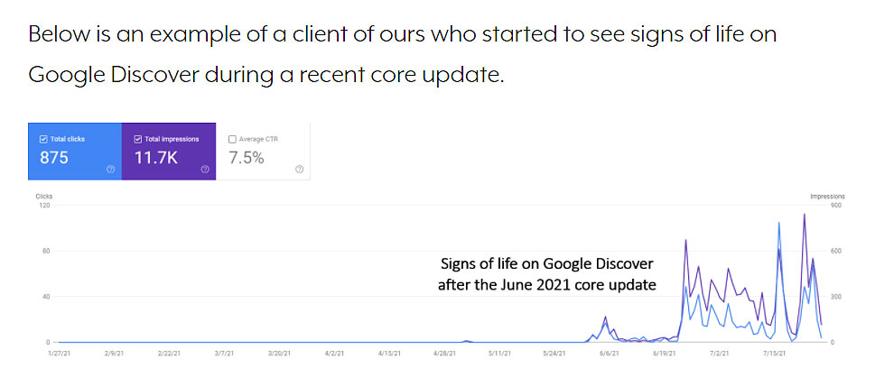 Google discover chart from SJ