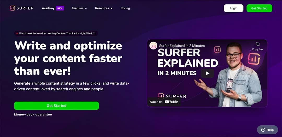 Surfer SEO 2021 Homepage