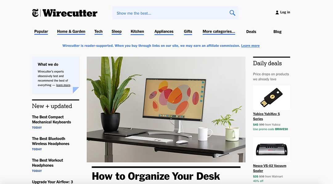 Wirecutter homepage screen