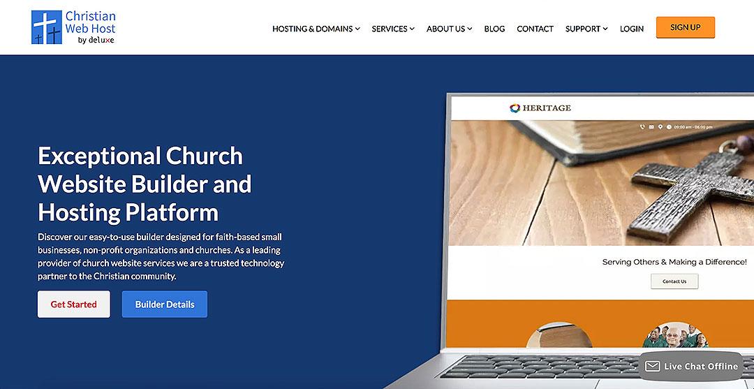 christian web host homepage