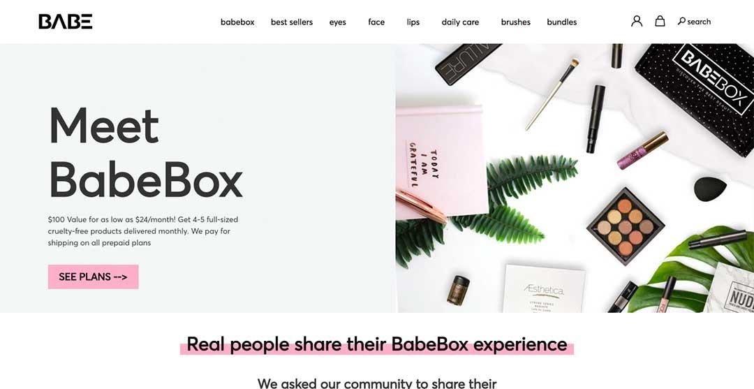 Babebox Homepage