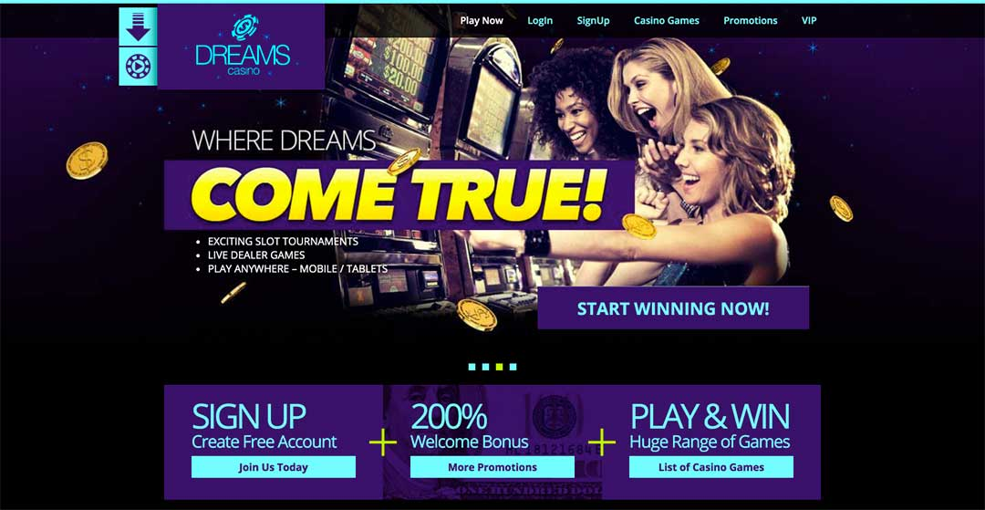 Dreams Casino Homepage