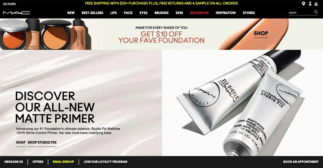 MAC makeup homepage
