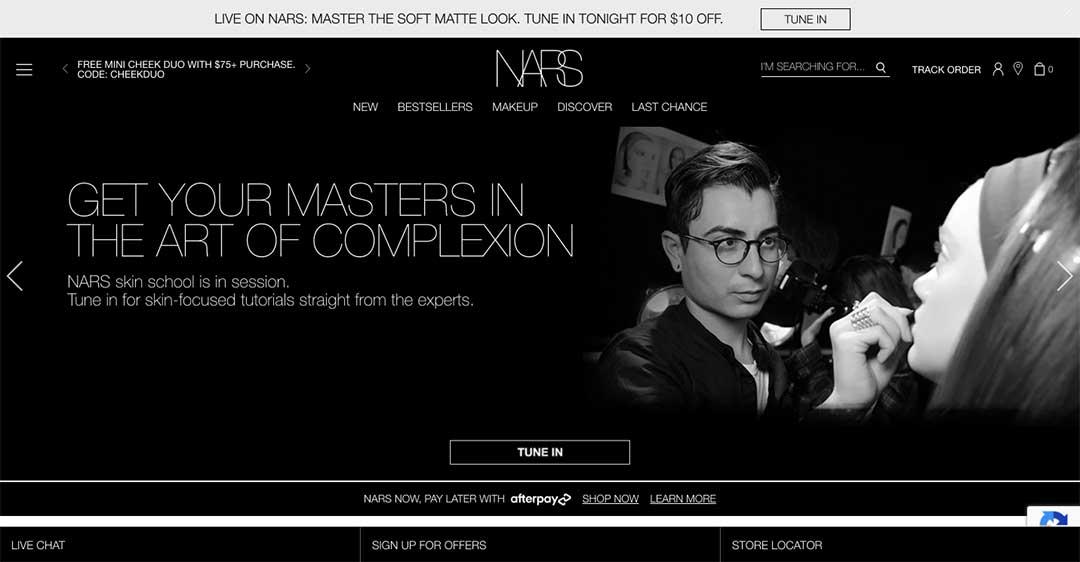 NARS Cosmetics Homepage