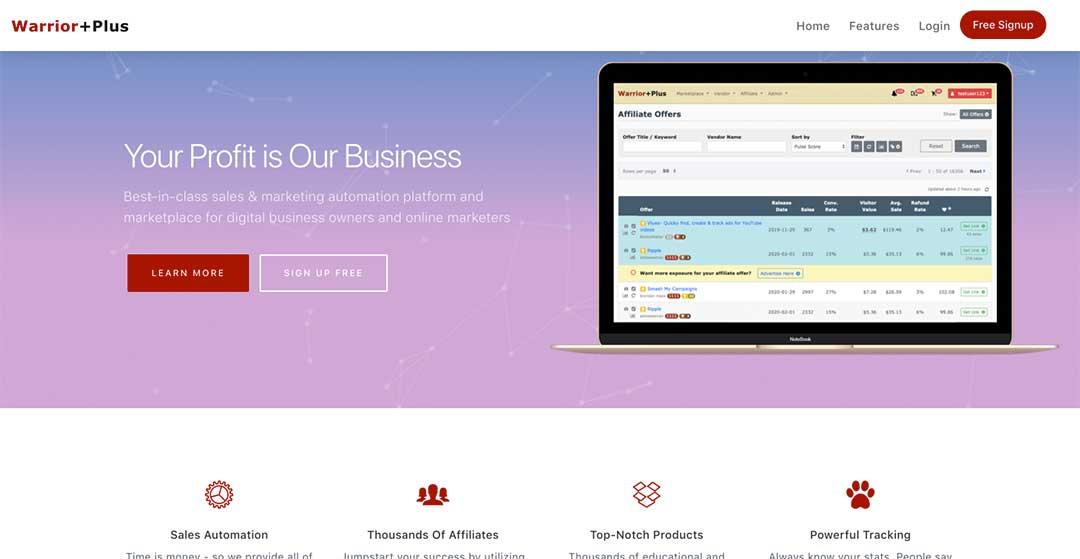 Warrior Plus Homepage